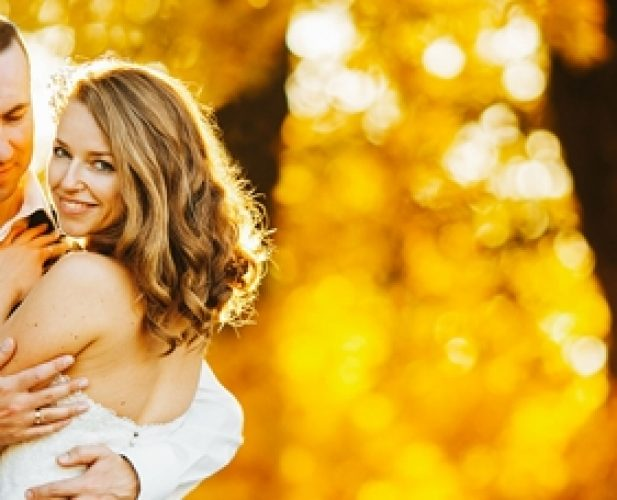 46332278 - beautiful couple posing on a background autumn forest